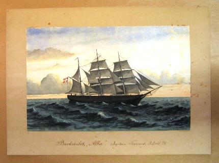 En af Kornerups akvareller udlånt til Arktisk Institut. Akvarellerne skal udstilles på Nordatlantens brygge og Arktisk Institut har speciel fremstillet individuelle passepartout til akvarellerne i  overenstemmelse med udlåns aftalen.